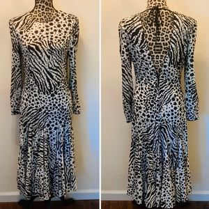 Dresses & Skirts - Vintage Beaded animal Print Flapper Dress